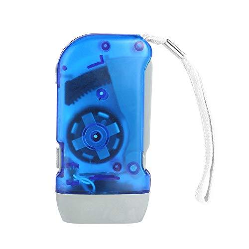 3 LED Hand Pressing Dynamo Crank Power Wind Up Flashlight Torch Light Hand Press Crank Camping Lamp Light - Blue