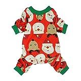 Fitwarm Christmas Pet Clothes Dog Pajamas Holiday Cat Apparel Lightweight Velvet Santa Reindeer Red Small