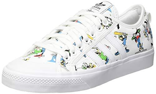 adidas Originals Mens Nizza X Disney Sport Goofy Sneaker, Footwear White/Scarlet/Core Black,43 1/3 EU