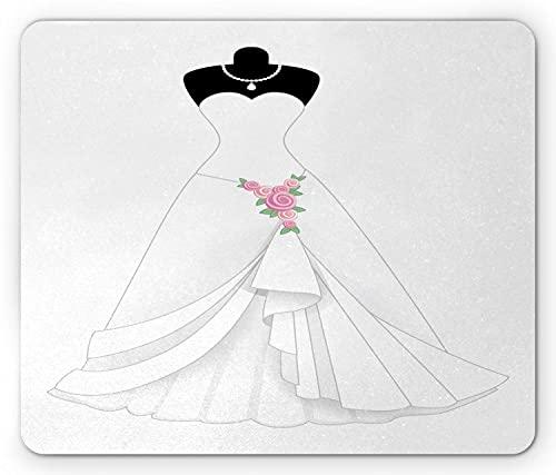 Brautduschen-Mauspad, Brautkleid mit einer rosa Blume am Rock und an der Halskette, rechteckiges rutschfestes Gummi-Mauspad, Standard Schwarz Weiß
