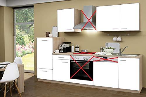 Menke Küchenzeile 280 cm Weiß ohne Geräte mit Spüle & Blende - Smart Easy Weiß