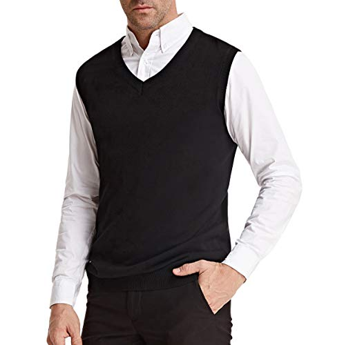 PJ PAUL JONES Mens Sweater Vest Casual Knit V-Neck Lightweight Soft (M, Black)