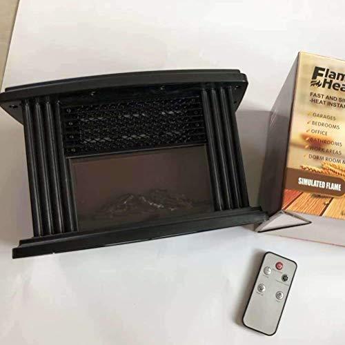Bento Mini Elektro Kamin, LED Tischkamin Tragbare Heizung mit Flammeneffekt für Haushalt Wohnzimmer Schlafzimmer,Schwarz