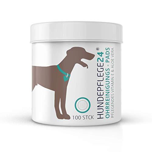 Hundepflege24 Hunde Ohren-Reinigungspads - 100 Stück - Natürlicher Ohrenreiniger Hund & Katze - Pflegende Aloe Vera, Lanolin & Vitamin E - Effektive & komfortable Ohrenpflege & Ohrenreinigung