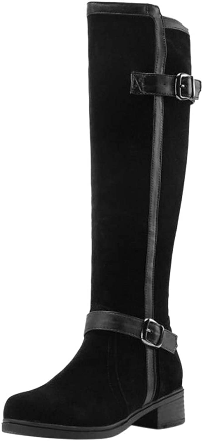 FANIMILA Women Block Heel Knee High Boots