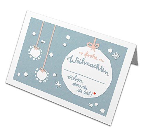 50 Tischkarten Frohe Weihnachten! im Vintage Design mit Weihnachtskugel, Hellblau Weiß Rosa, Recyclingpapier Weihnachtstischkarten, Platzkarten zum beschriften für die Weihnachtsfeier, CO2 neutral