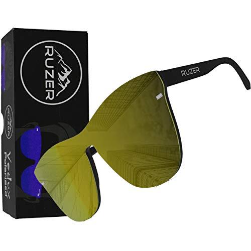 RUZER POLARISIERT Sonnenbrille mit reflektierender Spiegellinse Beutel und Stoff inklusive Geschenkbox (Gelb)