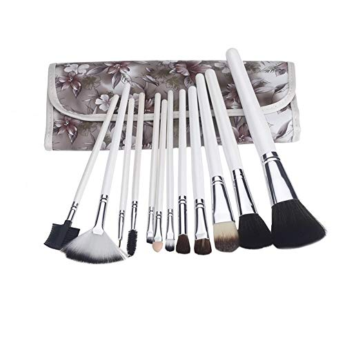 12pcs Bois Pinceaux Kit cosmétiques Professionnels Make Up Set + Housse Sac café de Pinceau Maquillage (Color : White)