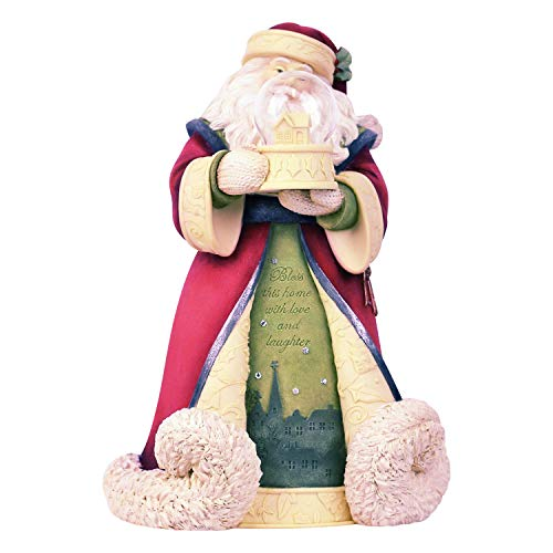 Enesco Heart of Christmas Bless This Home Santa Figurine, 8.27 Inch, Multicolor