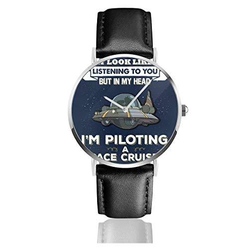 Casual de Negocios Unisex Puedo parecer Que te Estoy Escuchando Pero Space Cruiser Watches Reloj de Cuero de Cuarzo