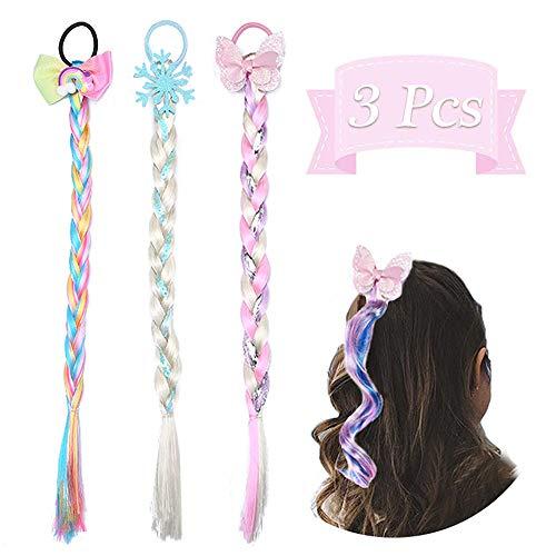 Dodheah Rapunzel Perücke Kinder Einhorn Perücke Zöpfe Haarspange Haarseil Kinder Haarschmuck Mädchen Geschenk für Geburtstagsfeier Cosplay A