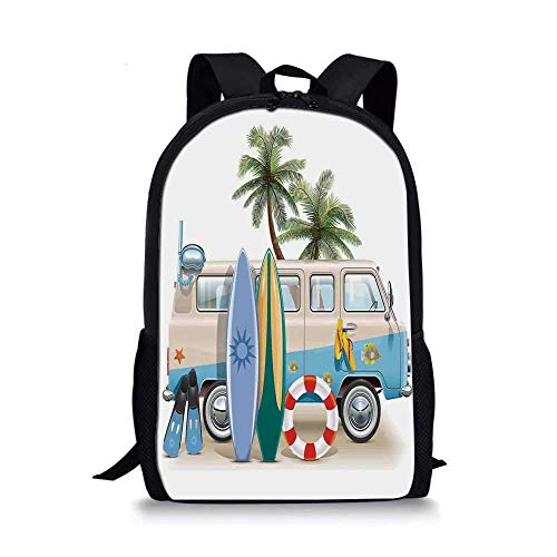 AOOEDM Backpack Surf Stylish School Bag,Surfing Weekend Concept with Diving Elements Fins Snorkeling and Van Trip Relax Peace for Boys,11''L x 5''W x 17''H