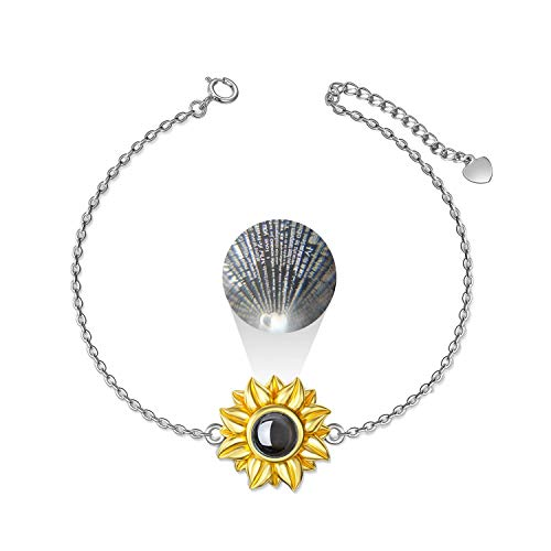 LONAGO I Love You 100 Languages Bracelet 925 Sterling Silver You Are My Sunshine Sunflower Bracelet Jewelry for Women