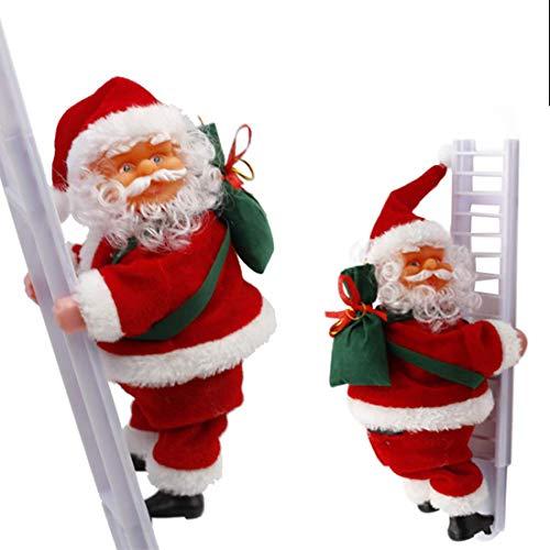 Escalera eléctrica de escalada de Papá Noel Muñeca, decoración de Navidad, muñeca de felpa, juguete de escalada de Papá Noel para fiesta de Navidad, puerta de casa, decoración de pared regalos