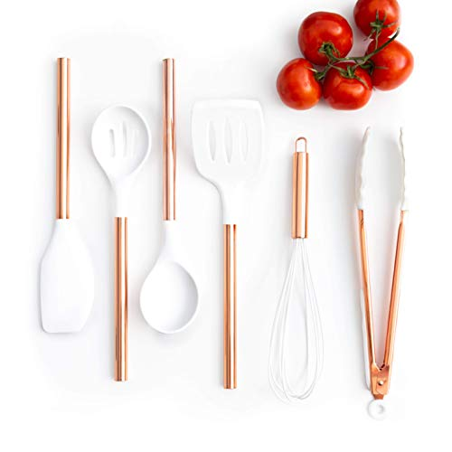 White Silicone and Copper Cooking Utensils for Modern Cooking and Serving Stainless Steel Copper Serving Utensils Ideal Spatulas for Non Stick Cookware