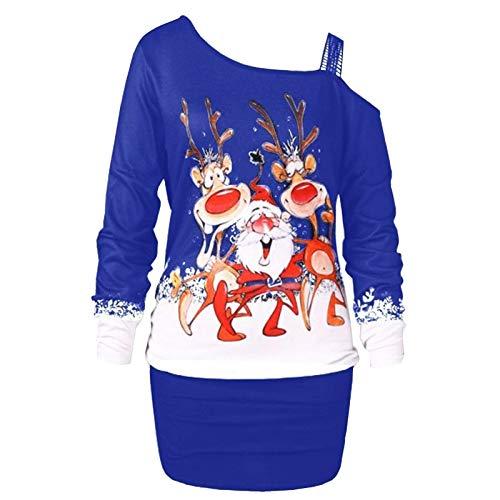 IHGWE Damen Lecken Schulter Weihnachtsdruck Kleid Damen Langarm Partykleid