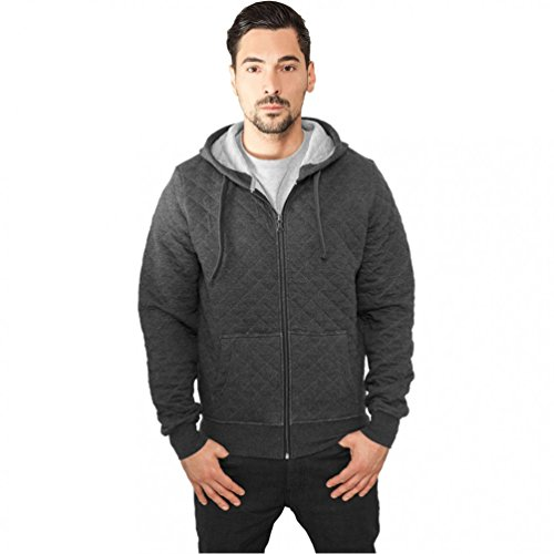 Urban Classics Diamond Quilt Zip Hoody Sweat-Shirt À Capuche, Multicolore (Cha/Gry 00084), X-Large Homme