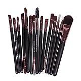 Weimay Brochas de Maquillaje,15pcs Maquillaje Profesional Pinceles Cerdas de Fibra Sintética Suaves ,Kit de Brochas Maquillaje (Brown)