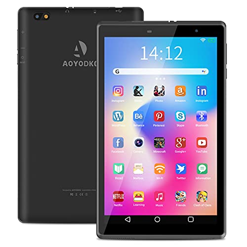 Tablet 8 Pollici, Android 10.0 Google Certificazione GMS 3GB RAM+32 128GB ROM, Tablet con Fotocamera da 5MP 1280 * 800 IPS, Quad-Core 1.6Ghz GPS, Bluetooth, Wi-Fi (Nero)