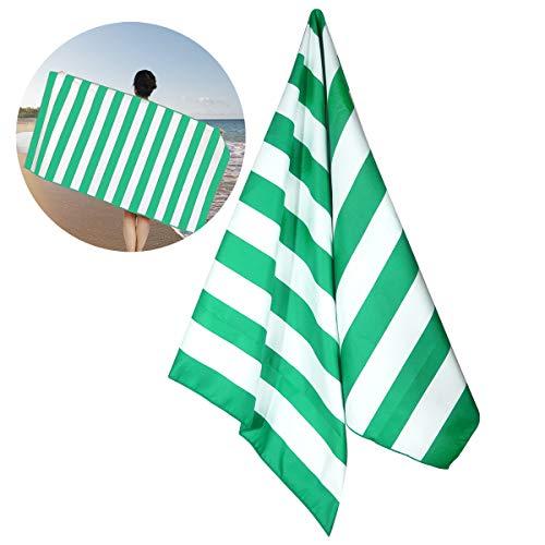 DaMohony Toalla de Baño de Microfibra Toalla de Playa Toalla de Rayas de Secado Rápido Súper Absorbente con Bolsa de Almacenamiento Ideal para Acampar en La Playa. (Verde)