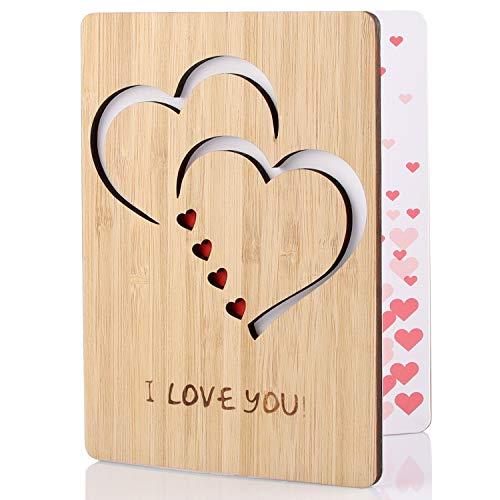 Tarjeta de Felicitación, Tarjeta de Felicitación de Madera, Bambú Real y Tarjeta de Felicitación de Madera, Utilizada para el Día Del Padre, Cumpleaños, Bodas, San Valentín y Aniversario (A)