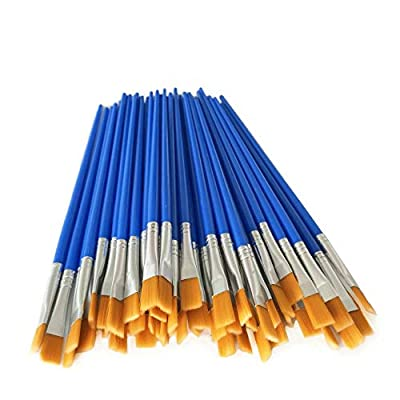Paint Brushes Set 30Pcs Nylon Flat Tip Hair with Wooden Handle Acrylic Oil Watercolor Artist Painting Kits Bulk for Children and Adult (Blue)
