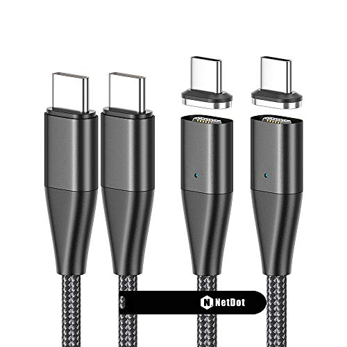NetDot Gen13 USB-C a USB-C 60W PD Cable de Carga rápida magnética Compatible con Laptop, Pad, i-Product, Sumsung S20 / Note10, Google y Otros Dispositivos Tipo C (1.8m / 2 Pack Negro)