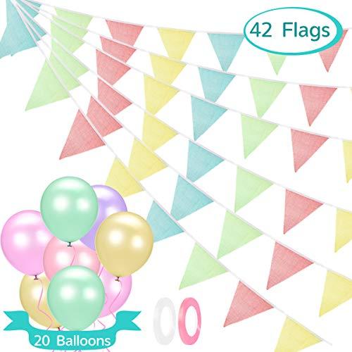 Babyhelen 10M Wimpelkette Bunting Wimpel Banner mit 42 STK Dreieck Flaggen und 20pcs Bunte Luftballons, Wimpel Girlande Dekoration für Hochzeit Party Weihnachten Geburtstagsfeier
