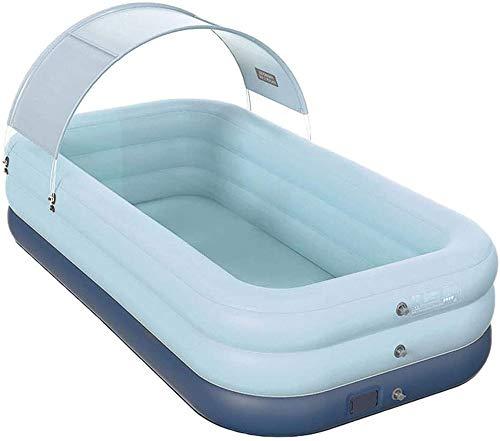 Piscina hinchable familiar con sombrilla, inflado automático inalámbrico Salón inflable gigante Piscina para niños adultos Fiesta acuática de verano,Azul,2.1m