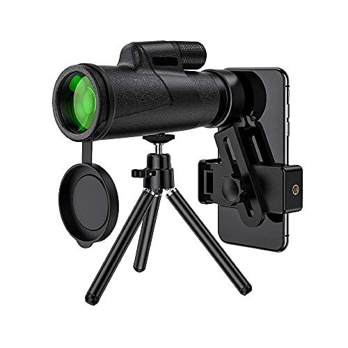 DGHJK Telescopio Bak4 Prism Lente FMC Monocular Impermeable con Soporte para teléfono Inteligente y trípode, Telescopio monocular de Alta definición 12x50