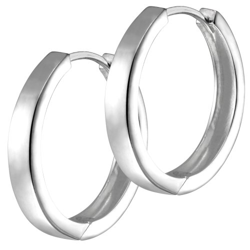 Vinani Klapp-Creolen rund schmal glänzend Sterling Silber 925 Ohrringe CGG