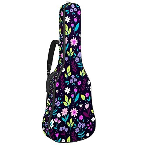 Bolsa para guitarra con diseño de flores, color morado, con asa de...