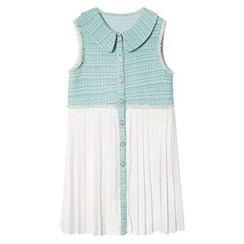 Light Green Tweed Plaid Patchwork Chiffon a-line Dress Peter pan Collar Sleeveless Tank Button Mini Dress D1435,Mint,L