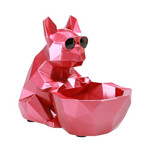 iChoue French Bulldog Decor Dog Sculptures Abstract Animal Figurines Geometric Surface Puppy Statues Gift Present for Dog Lovers-Red