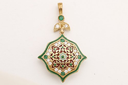 Motif Style Turkish Handmade All Authentic Jewelry Green Enamel Round Cut Emerald Topaz 925 Sterling Silver Pendant