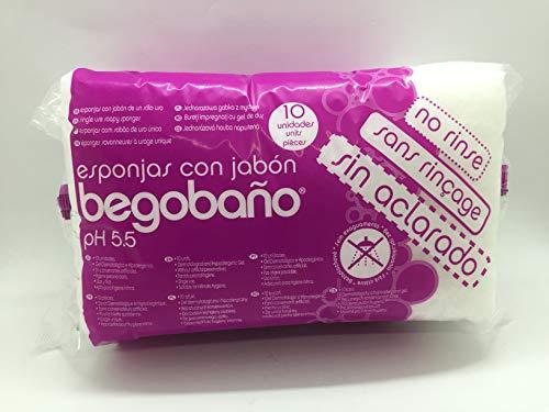 Begobaño Esponja Jabonosa De Un Solo Uso Sin Necesidad De Aclarado Con Agua 50 G, Blanco