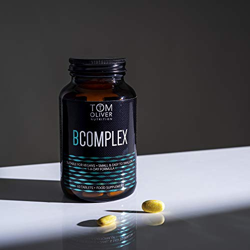 Tom Oliver Nutrition - Vitamin B Complex High Strength B6, B12 with Folate (60 Tablets) 100% Vegan, one a Day Formula (1)