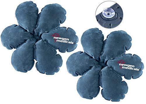 Newgen Medicals Kissen aufblasbar Strand: 2 aufblasbare Reisekissen in Blumenform mit integriertem Saugnapf (Aufblasbare Kopfkissen für Reisen)