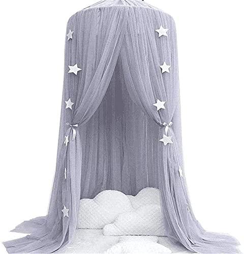 FCPLLTR Cama de la princesa de la bola redonda Cama de la cama Copa de cama Mosquito Net Cortina Ropa de cama Tienda de la cúpula para niños Perro al aire libre Juego de lectura (Color: Dream Grey + G