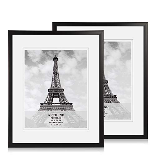 ARTrend, 16x20 Flat Double Mat Picture Frames, Display 11x14 Pictures with Mat or 16 by 20 photo without Mat. Poster frames set, 2 Pack in Black.