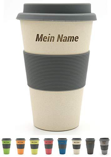 BambooYou Magu personalisierter Coffee to go Becher mit Namen Bambus Namensbecher - Individuelle Namensgravur- Lasergravur 465 - naturweiß