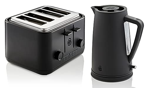 Swan Stealth 1.7L Kettle and 4-Slice Toaster Set, High Performance, Cutting-Edge Design, Large Capacity, STP1410BLKN