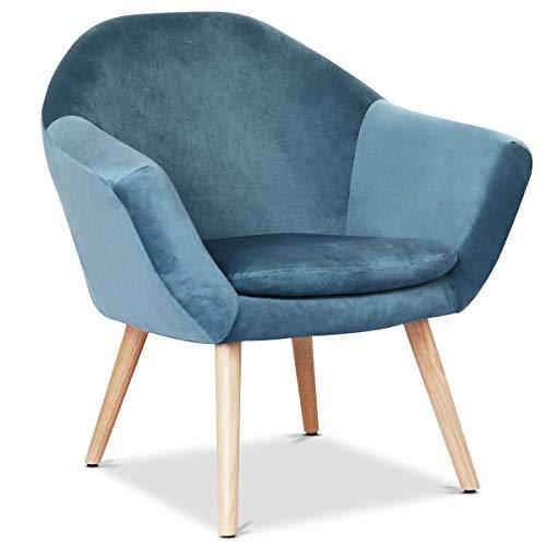 Mc Haus NAVIAN - Sillón Nórdico Escandinavo de color Azul Perla, butaca comedor salón dormitorio, sillón acolchado con Reposabrazaos y patas de madera 47x74x76cm