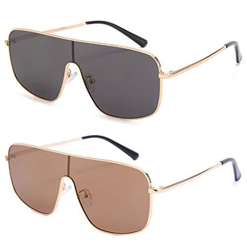 HFSKJ Paquete de 2 Gafas de Sol, Gafas de Sol de una Pieza, Gafas de Color Personalizadas, Gafas de Sol de Moda para Mujer,B