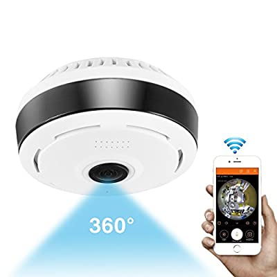 360 Degree Panoramic Camera WiFi Indoor IP Camera Fisheye Infrared Camera with Night Vision 2-Way-Audio for Kids & Pets Home Security Camera System with iOS/Android App for Large Area Monitoring