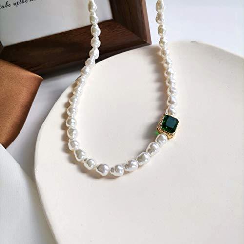 TOBEONE Collar de clavícula Corto de Perlas de imitación de Cristal Verde Cuadrado geométrico para Mujer, joyería de Novia