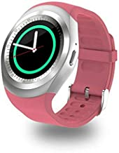 Y1 SmartWatch Touch Screen Support Micro SIM Card with Bluetooth 3.0 Camera Sleep Monitor Outdoor Fitness for iOS Android (Pink)