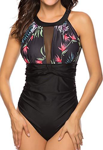 Bikini Mono Mujer con Acolchado Bra Trajes de baño una Pieza Color Vario con Talla Grande1690 Impresa #3 Medium