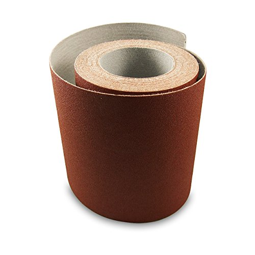 Red Label Abrasives 6 Inch X 75 Foot 120 Grit Premium Loop (Felt) Backed Ready-to-Cut Cloth Sanding Roll for Hook and Loop Drum Sanders