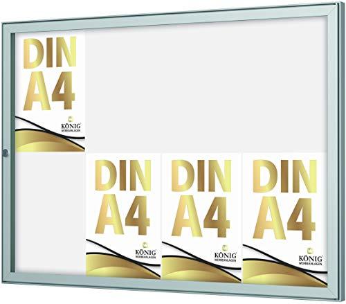 Schaukasten Keitum 8x DIN A4 | B 905 × H 660mm Querformat | wetterfest für innen und aussen | abschließbar | ESG-Sicherheitsglas | Brandschutz A1/A2 nach DIN EN 13501-1 | Alu silber